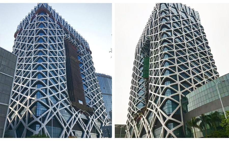 酒店玻璃铝板幕墙工程项目验收后实景效果图