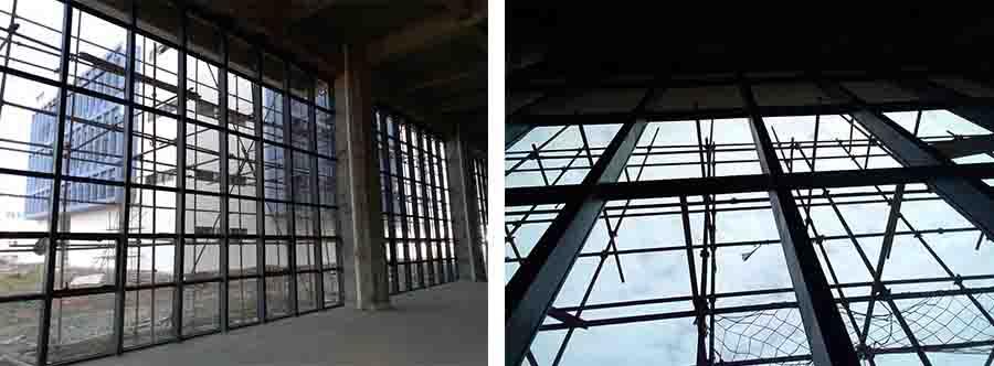 玻璃幕墙工程内部搭建