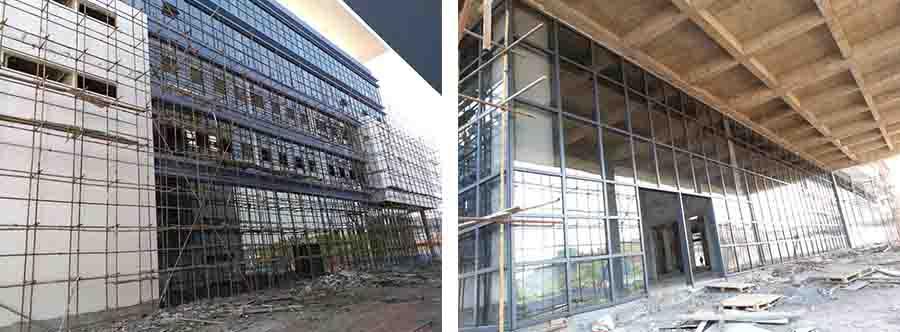 玻璃幕墙工程在建中.